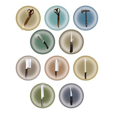 machete: set of knives and scissors icons Illustration