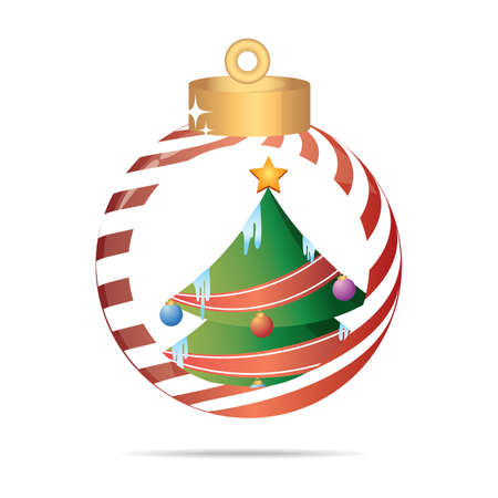 x mass: xmas tree in a christmas bauble Illustration