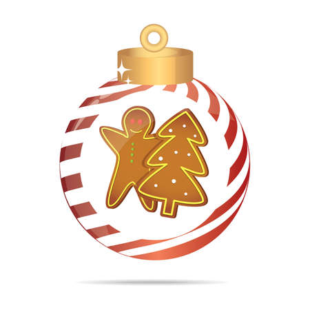 gingerbread: gingerbread and christmas tree in a christmas bauble