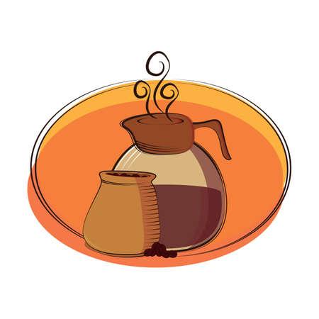 coffee sack: coffee jug and coffee beans sack Illustration