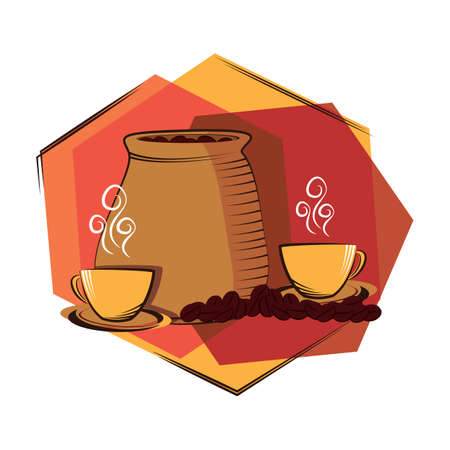 coffee sack: coffee beans sack and cups