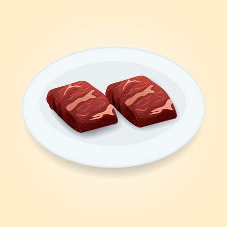beef steak: raw beef steak Illustration