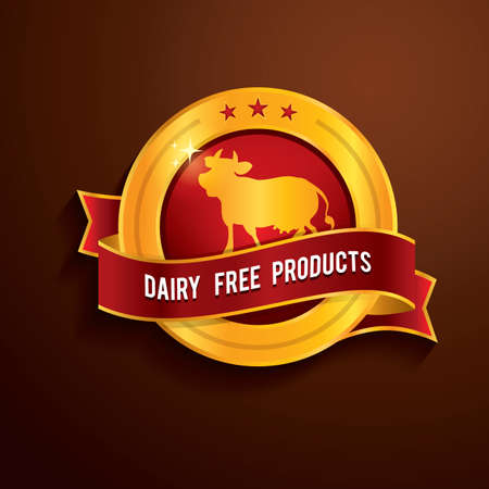 dairy products: dairy free products label Illustration