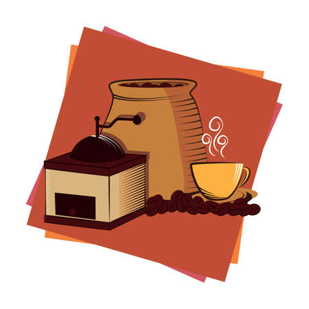 sack: coffee beans sack grinder and cup Illustration