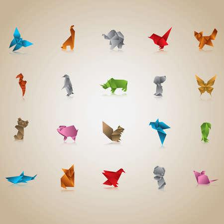 dog shark: set of origami animals and birds