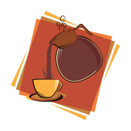 jug: coffee jug pouring coffee in a cup Illustration