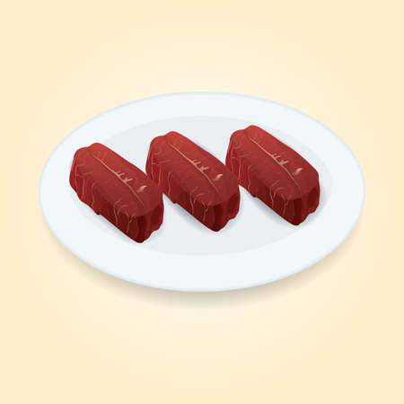 fillet steak: raw beef steak Illustration