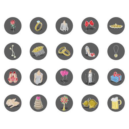 formal attire: wedding theme set Illustration