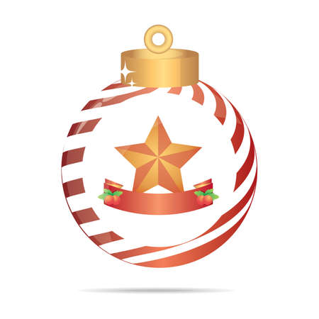 christmas star with banner in a christmas bauble