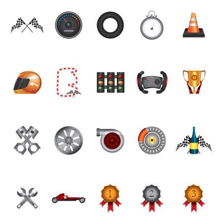 wheel rim: set of racing items Illustration