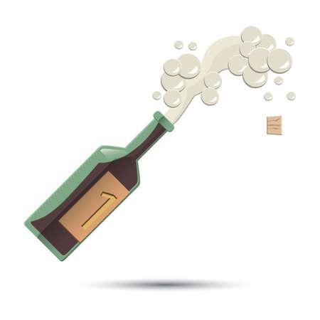 geopende fles champagne Stock Illustratie