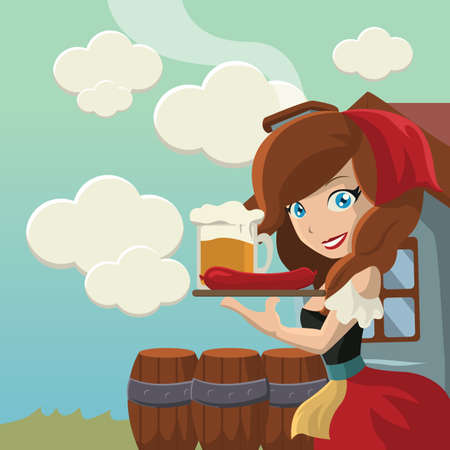 waitress: bavarian waitress Illustration