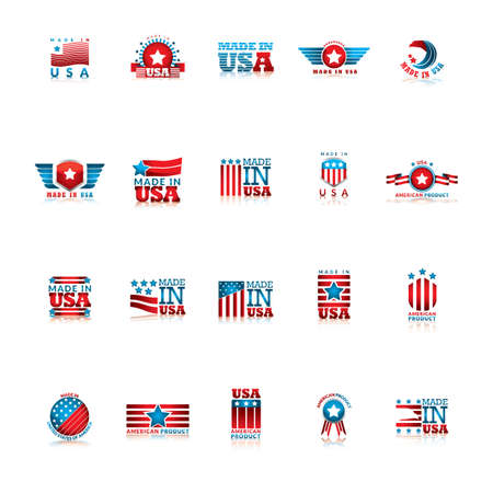 set of made in usa icons