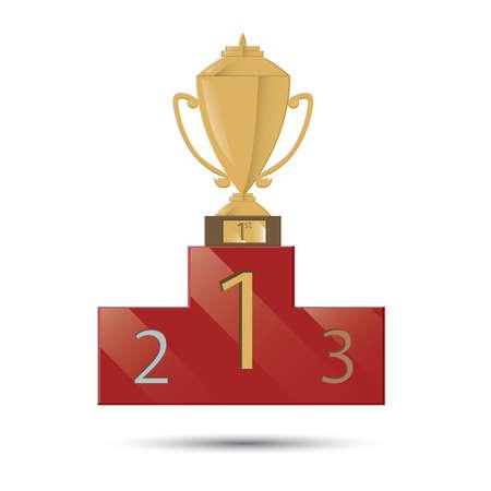 winner podium: trophy on the winner podium Illustration