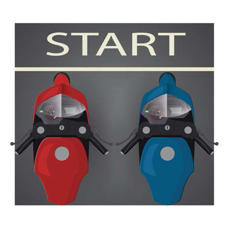 starting line: motorbikes at the starting line