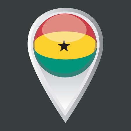 ghana: map pointer with ghana flag