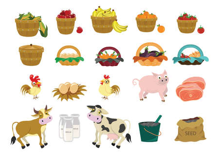 apples and oranges: set of agriculture icons