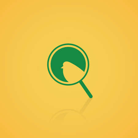 magnifying glass icon: bird in a magnifying glass icon