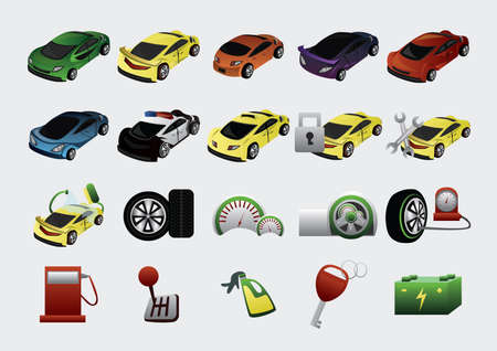 odometer: set of car icons Illustration