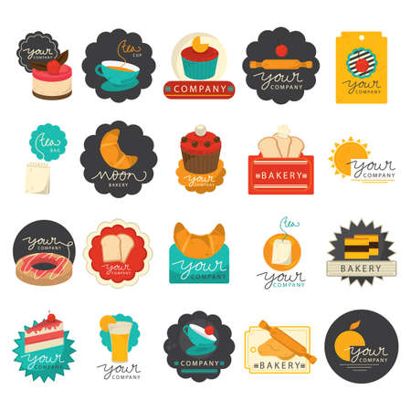 rolling bag: set of bakery icons