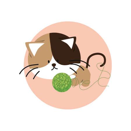 woolen: cat playing with woolen ball