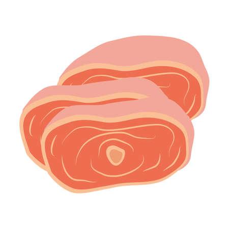 raw pork: raw beef Illustration