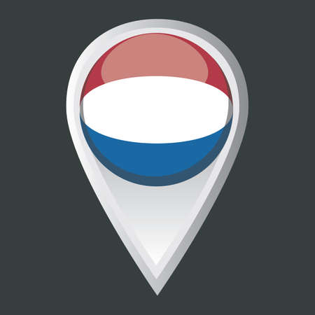 netherlands flag: map pointer with netherlands flag Illustration