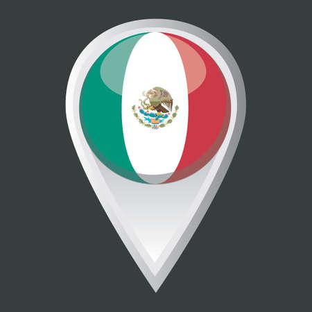 drapeau mexicain: pointeur de carte avec le drapeau mexicain Illustration