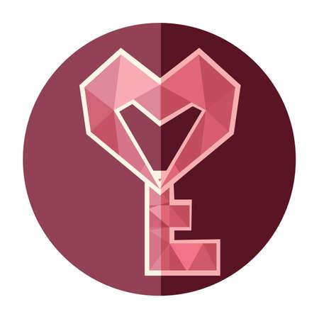 heart shaped: heart shaped key Illustration