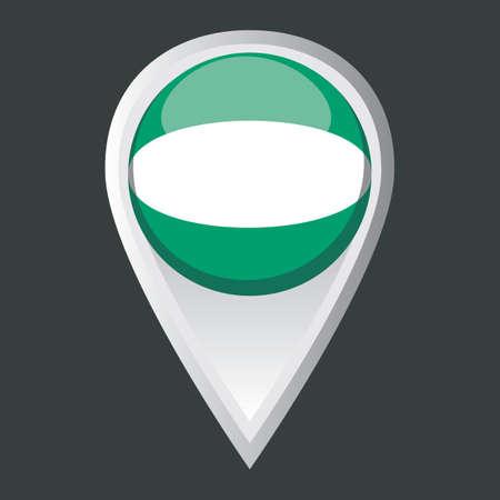 nigerian: map pointer with nigerian flag