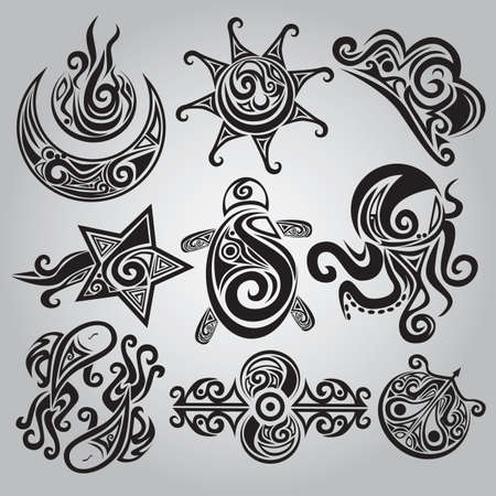 collection de divers tatouages Vecteurs