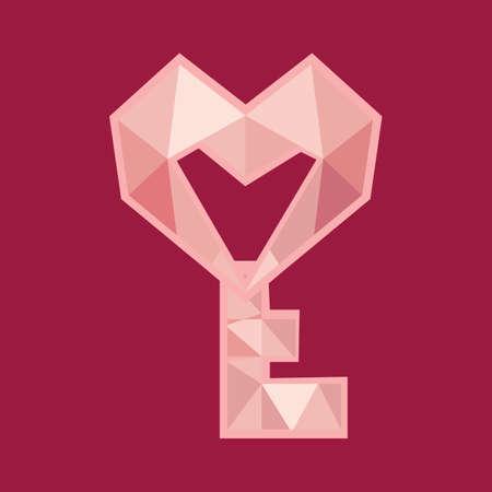 unlocking: heart shaped key Illustration