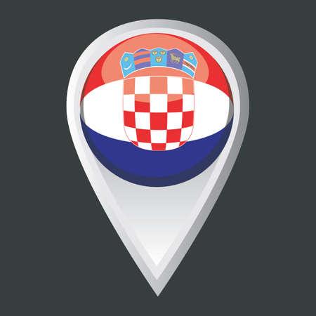 croatia: map pointer with croatia flag Illustration