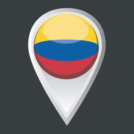 map pointer: map pointer with colombia flag