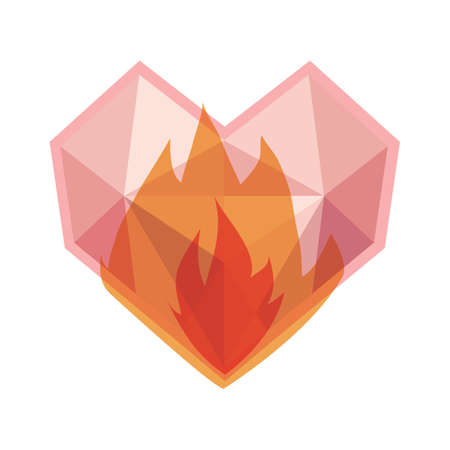 fire heart: heart on fire Illustration