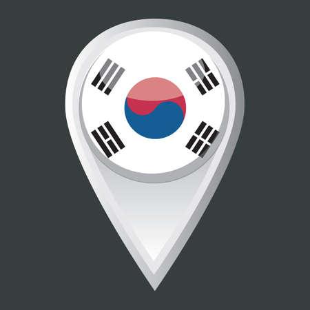 korea flag: map pointer with south korea flag Illustration