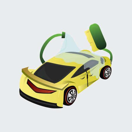 auto washing: car washing Illustration