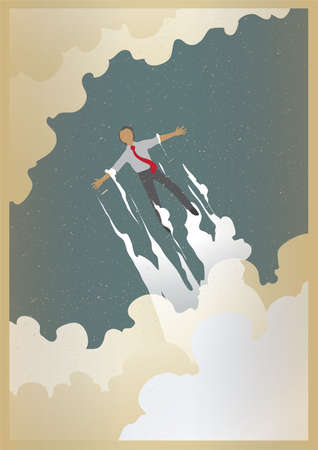 flying man: man flying in sky