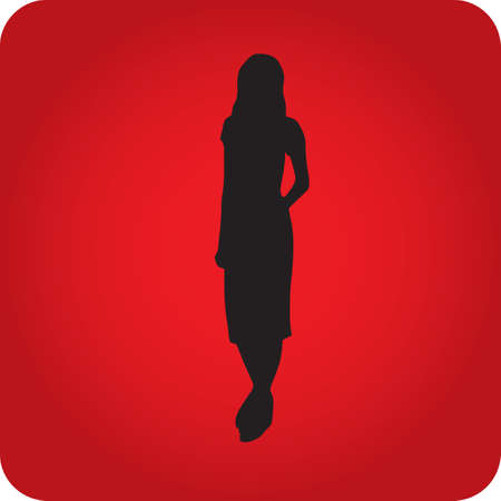 fashionable: silhouette of fashionable woman