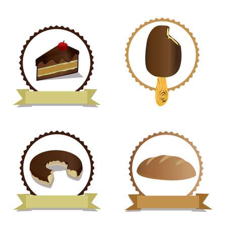 buns: set of bakery labels Illustration