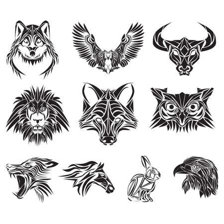 Sammlung von verschiedenen Tier Tätowierungen