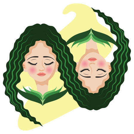 gemini girl: gemini horoscope Illustration