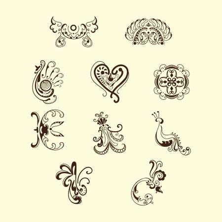 Sammlung von verschiedenen Tattoo-Designs Vektorgrafik