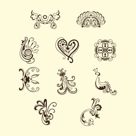 verzameling van verschillende tattoo designs Vector Illustratie