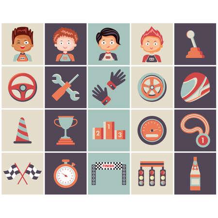 conjunto de iconos de carreras de motor