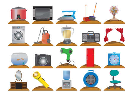 iron curtains: household electrical items Illustration