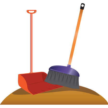 dustpan: dustpan and broom