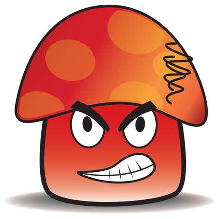 angry vegetable: angry mushroom