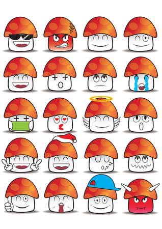 the hangover: set of mushroom expressions Illustration