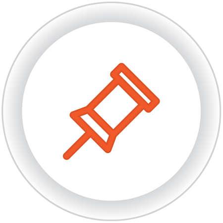 pin board: board pin button